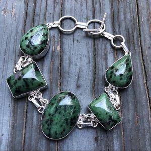 925 Sterling Silver Natural Ruby Zoisite Bracelet